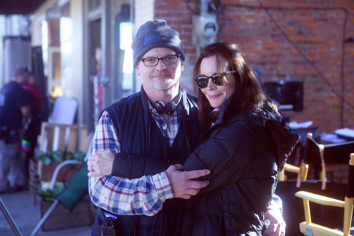 Director Michael Wilson, left, and writer Susan Batten on location for