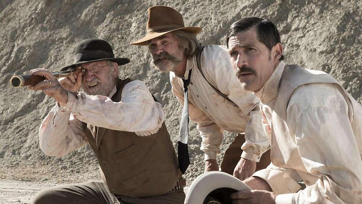 "Richard Jenkins, Kurt Russell and Matthew Fox in ""Bone Tomahawk."""