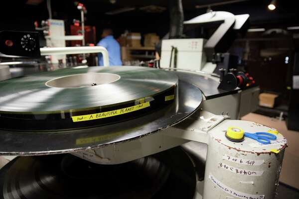 "A ""tray"" of the movie, ""A Beautiful Planet,"" on 70mm film inside the projection room in the IMAX Theater at the Maritime Aquarium in Norwalk."