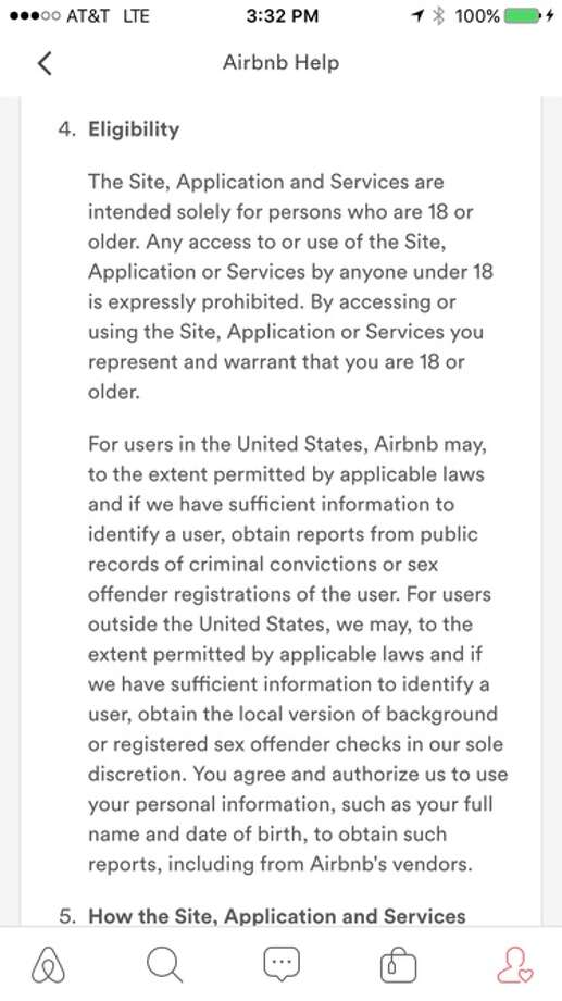 The Airbnb app now displays updated terms of service seeking users' permission to perform background checks.