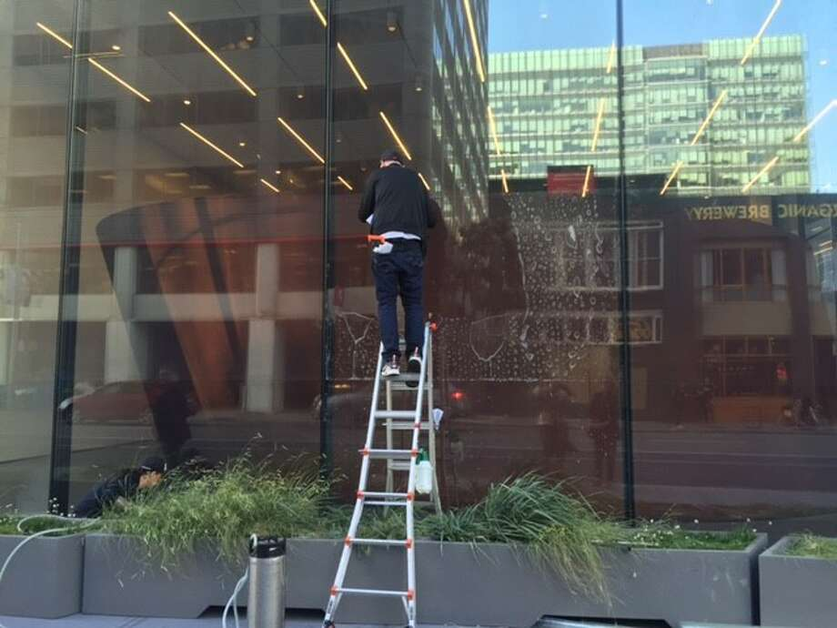 Working on the windows at the new SFMOMA.