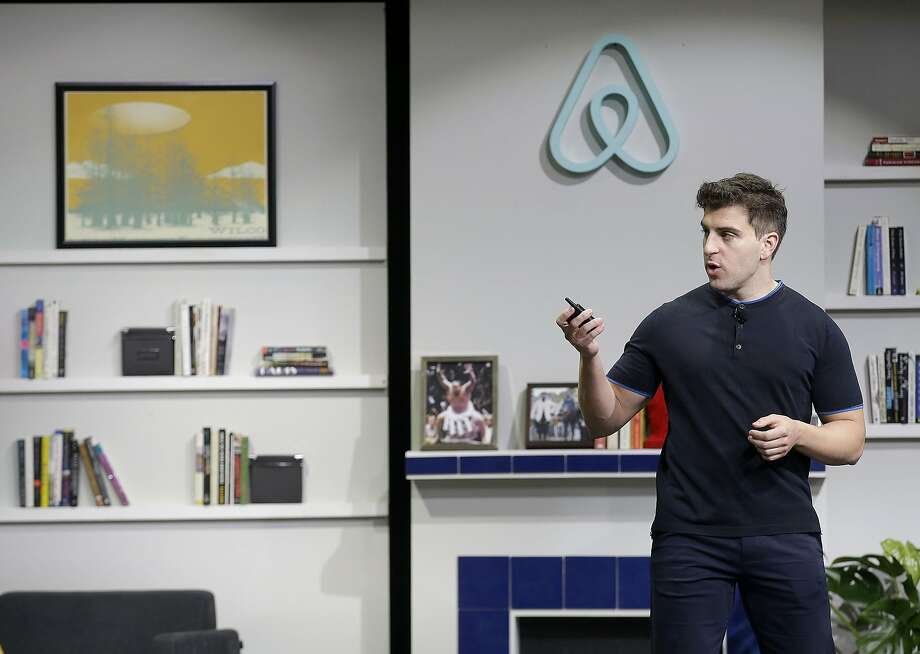 Airbnb co-founder and CEO Brian Chesky speaks during an announcement in San Francisco, Tuesday, April 19, 2016. (AP Photo/Jeff Chiu) Photo: Jeff Chiu, Associated Press