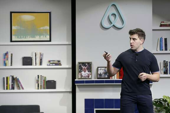 Airbnb co-founder and CEO Brian Chesky speaks during an announcement in San Francisco, Tuesday, April 19, 2016. (AP Photo/Jeff Chiu)