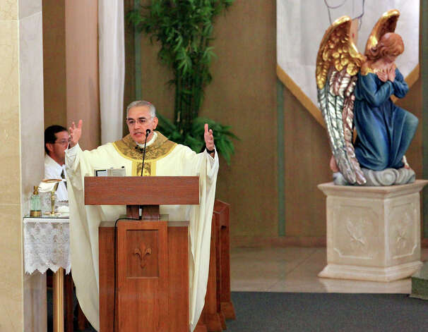 Bishop Joe S. Vasquez speaks, Sunday April 21, 2013, during a mass at the Church of the Assumption after an explosion at a fertilizer plant that occurred Wednesday evening in West, Tx. Photo: San Antonio Express-News