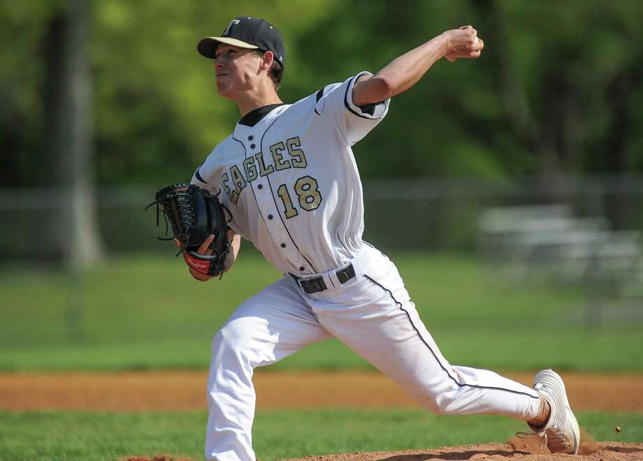Joe Nemchek (18) of the Trumbull Eagles delivers a pitch during a game against the St. Joseph Cadets at Trumbull High School on May 20, 2016 in Trumbull, Connecticut. Photo: Gregory Vasil / For Hearst Connecticut Media / Connecticut Post Freelance
