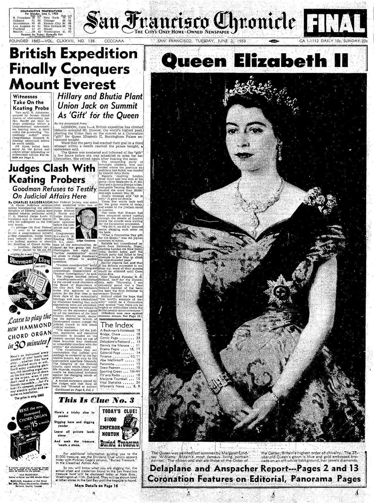 Historic Chronicle Front Page June 02, 1955 Queen Elizabeth ascends the throne in Great Britain Chron365, Chroncover