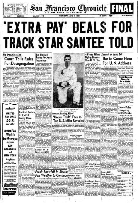 The Chronicle's front page from June 1, 1955, covers the court's ruling on segregation, an amateur track star's controversial under-table pay and a scuffle between Russian leaders.