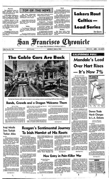 The Chronicle's front page from June 4, 1984, covers the return of cable cars after almost two years of repairs.
