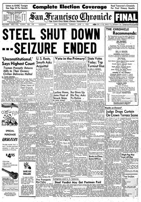 The Chronicle's front page from June 3, 1952, covers the end of the steelworkers strike.