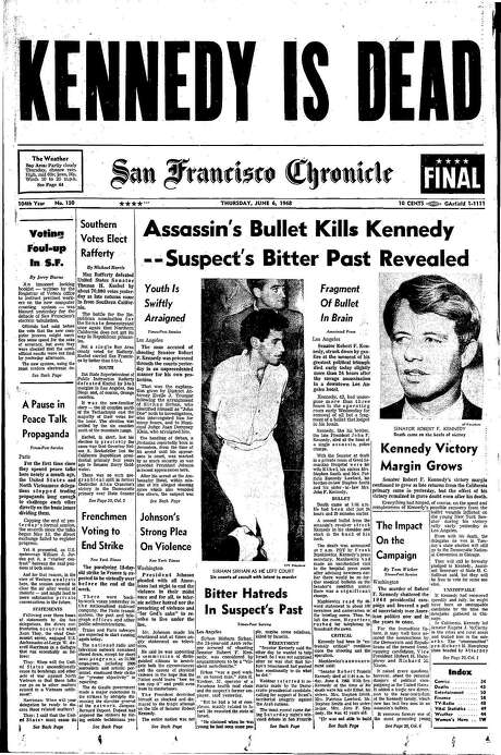 The Chronicle's front page from June 6, 1968, covers the death of Robert F. Kennedy.
