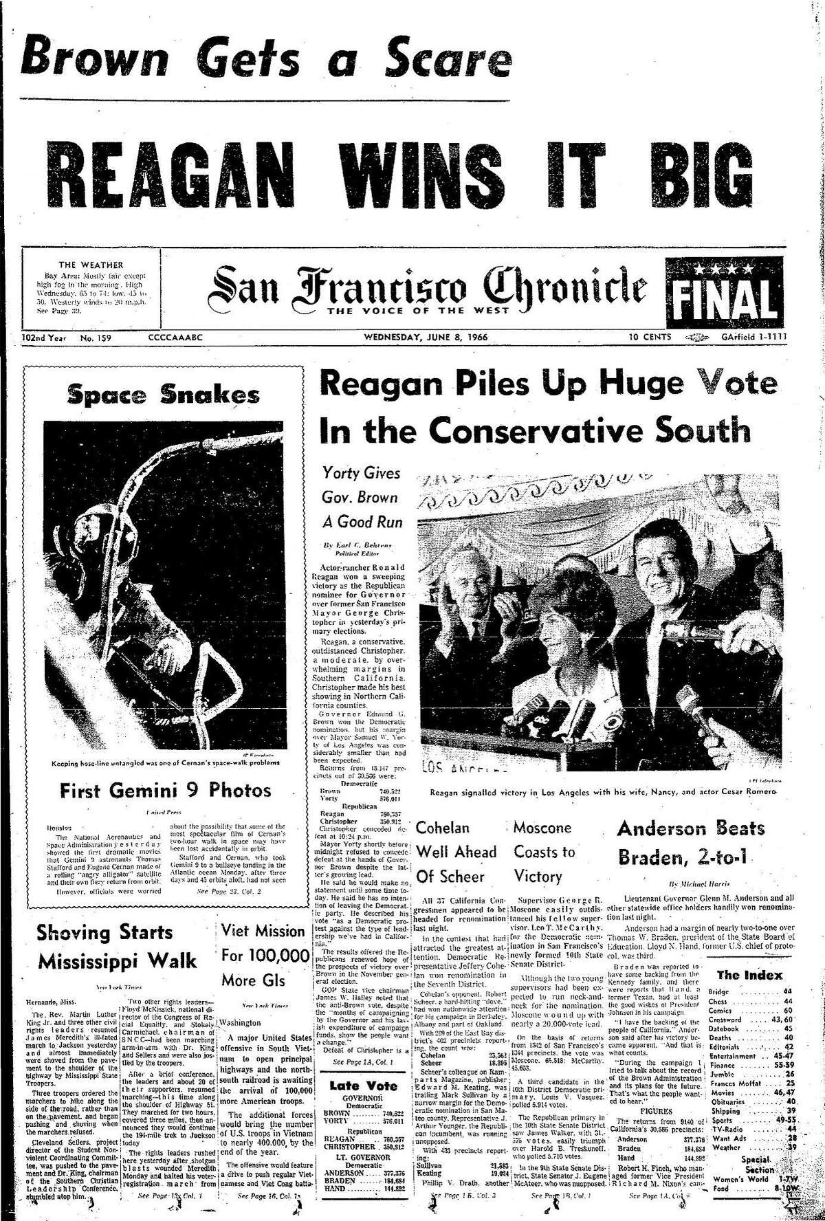 Historic Chronicle Front Page June 8, 1968 Ronald Reagan, wins the race to be the Republican candidate to become governor Chron365, Chroncover