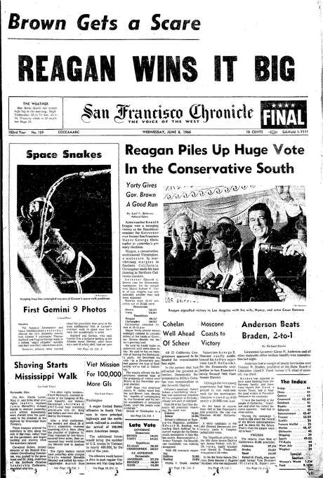 The Chronicle's front page from June 8, 1968, covers Ronald Reagan's primary win to be the Republican candidate for governor.