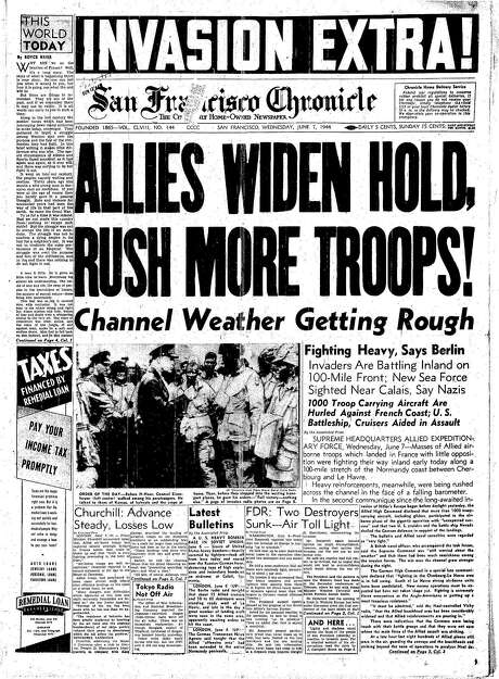 The Chronicle's front page from June 7, 1944, covers the Allied invasion at Normandy.