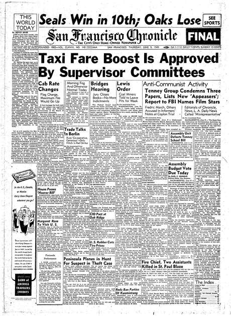 The Chronicle's front page from June 9, 1968, covers the State Senate Un-American Activities committee naming names.
