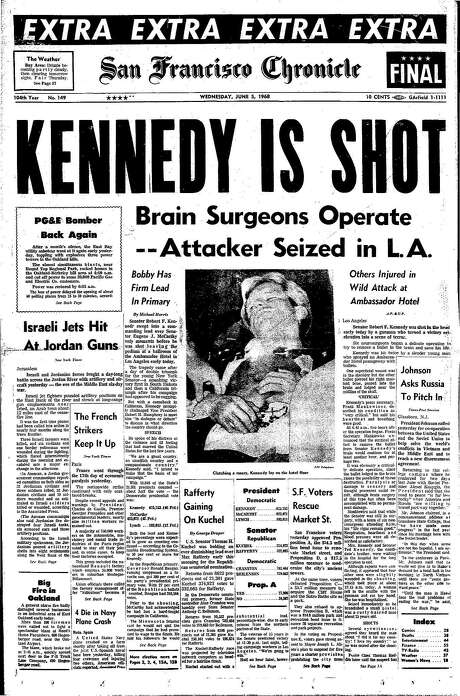 The Chronicle's front page from June 5, 1968, covers the assassination of Robert F. Kennedy.