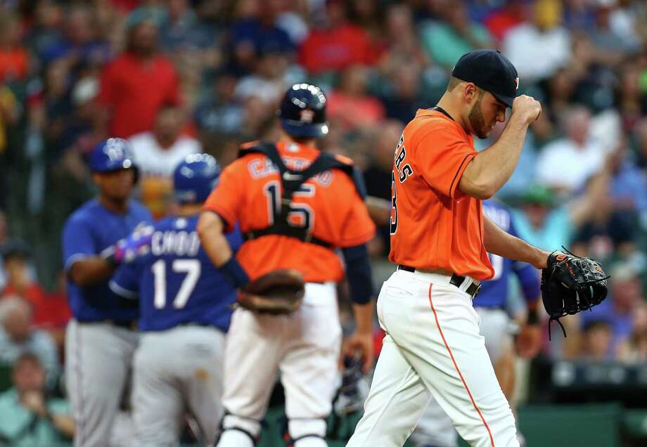 Houston Astros starting pitcher Lance McCullers (43) walks back to the mound after giving up a two-run RBI during the third inning of an MLB game at Minute Maid Park Friday, May 20, 2016, in Houston. Photo: Jon Shapley, Houston Chronicle / © 2015  Houston Chronicle
