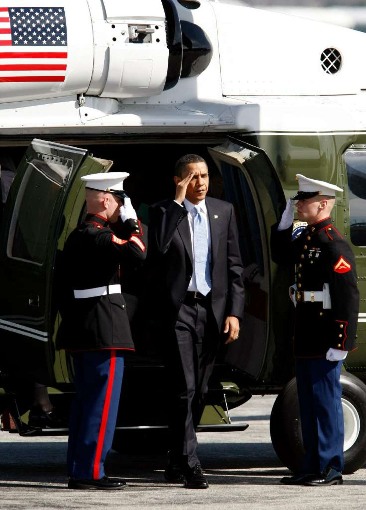 Sikorsky has a long history in supplying the Marines with presidential helicopters dating to President Eisenhower's use of the Sikorsky H-42 in 1958. In this photo, President Barack Obama salutes as he steps off of one of the smaller Sikorsky VH-60 helicopters.