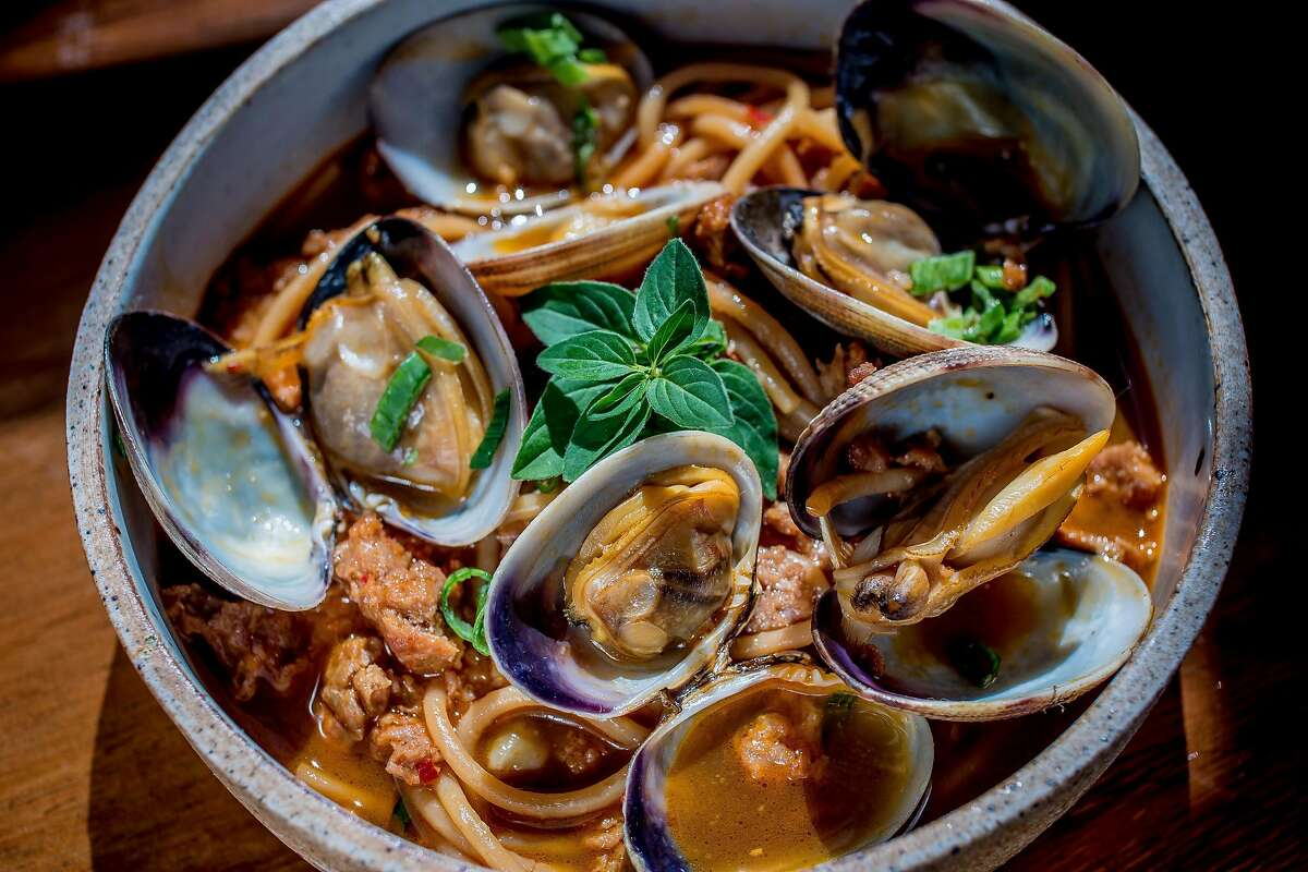 The Chorizo and Clams at Basalt in Napa, Calif. is seen on May 20th, 2016.