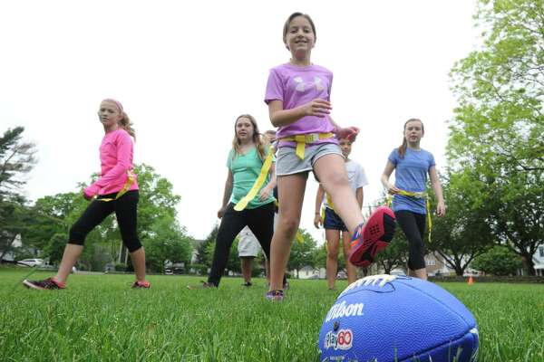 The Chargers flag football practice at  Pemberwick Park in the Pemberwick section of Greenwich, Conn., Saturday, May 21, 2016. Charger coaches Tim Harkness and Jim Morlock, said the team is part of the Greenwich Flag Football League that plays their games at Greenwich High School against other teams from the area. Morlock said that their next game is Sunday morning against the Texans.