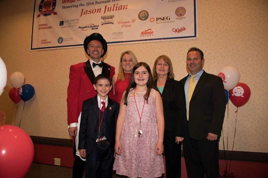 Posing in this group photo are 2016 Barnum Festival Ringmaster Jason Julian; his wife, Tammy; mother, Maureen; brother, Andrew; son, Logan; and daughter, Madison. Photo: Roger D. Salls /Contributed Photo / Roger Salls Photography 2016