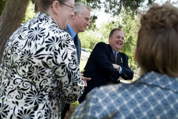 (NYT71) DUNN, NC -- May 2, 2008 -- NC-CLINTON-STRIDER  -- Burns Strider, right, senior adviser and director of faith-based operations for the Clinton campaign, on April 30, 2008, in Dunn, N.C.  (Jeremy M. Lange/The New York Times)