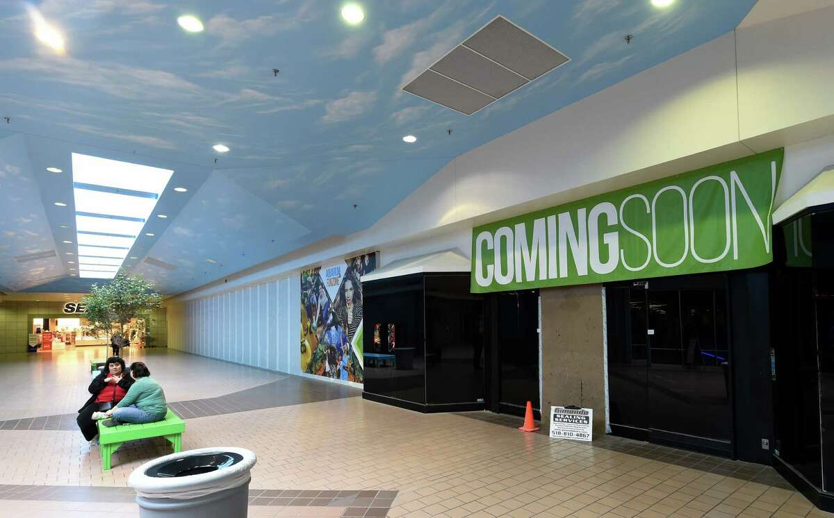 """The """"coming soon"""" sign at the entry point of the new aquarium which is under construction Thursday March 10, 2016 at the Via Port Rotterdam, formerly Rotterdam Square Mall in Rotterdam, N.Y. (Skip Dickstein/Times Union)"""