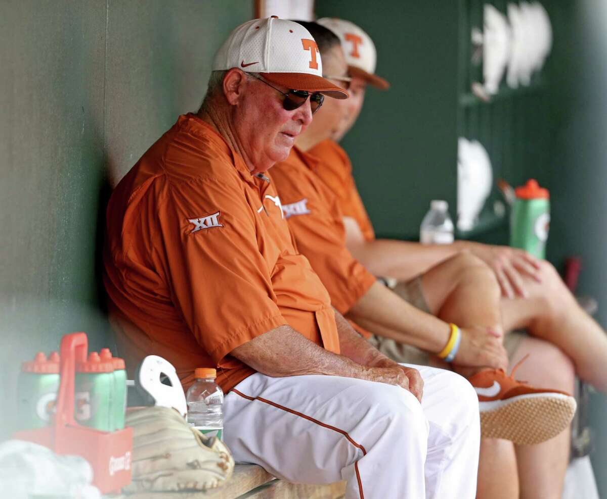 Texas head coach Augie Garrido sits in the dugout during the game against Baylor Saturday May 21, 2016 at UFCU Disch-Falk Field in Austin, Tx. Texas won 7-6.