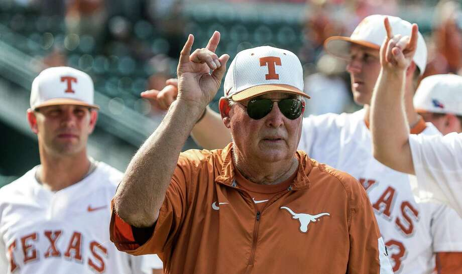 "Texas coach Augie Garrido sings ""The Eyes of Texas"" with the team after Texas defeated Baylor 7-6 in a college baseball game in Austin, Texas, on Saturday, May 21, 2016. (Rodolfo Gonzalez/Austin American-Statesman via AP) Photo: Rodolfo Gonzalez, Associated Press / Austin American-Statesman"