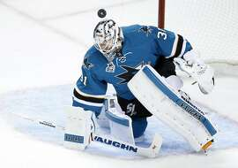 San Jose Sharks' Martin Jones gives up a goal off of his helmet to St. Louis Blues' Kyle Brodziak in 2nd period in Game 4 of NHL Playoffs' Western Conference Finals at SAP Center in San Jose, Calif., on Saturday, May 21, 2016.