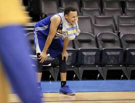 Stephen Curry (30) laughs during a practice session at Chesapeake Arena in  Oklahoma City, Okla., on Saturday, May 21, 2016. The Warriors are preparing for Game 3 of the Western Conference Finals against the Oklahoma City Thunder on Sunday