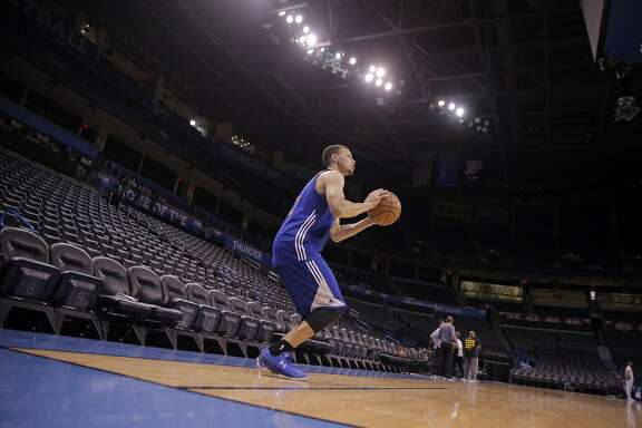 Stephen Curry (30) takes aim on a corner three-pointer during a practice session at Chesapeake Arena in  Oklahoma City, Okla., on Saturday, May 21, 2016. The Warriors are preparing for Game 3 of the Western Conference Finals against the Oklahoma City Thunder on Sunday