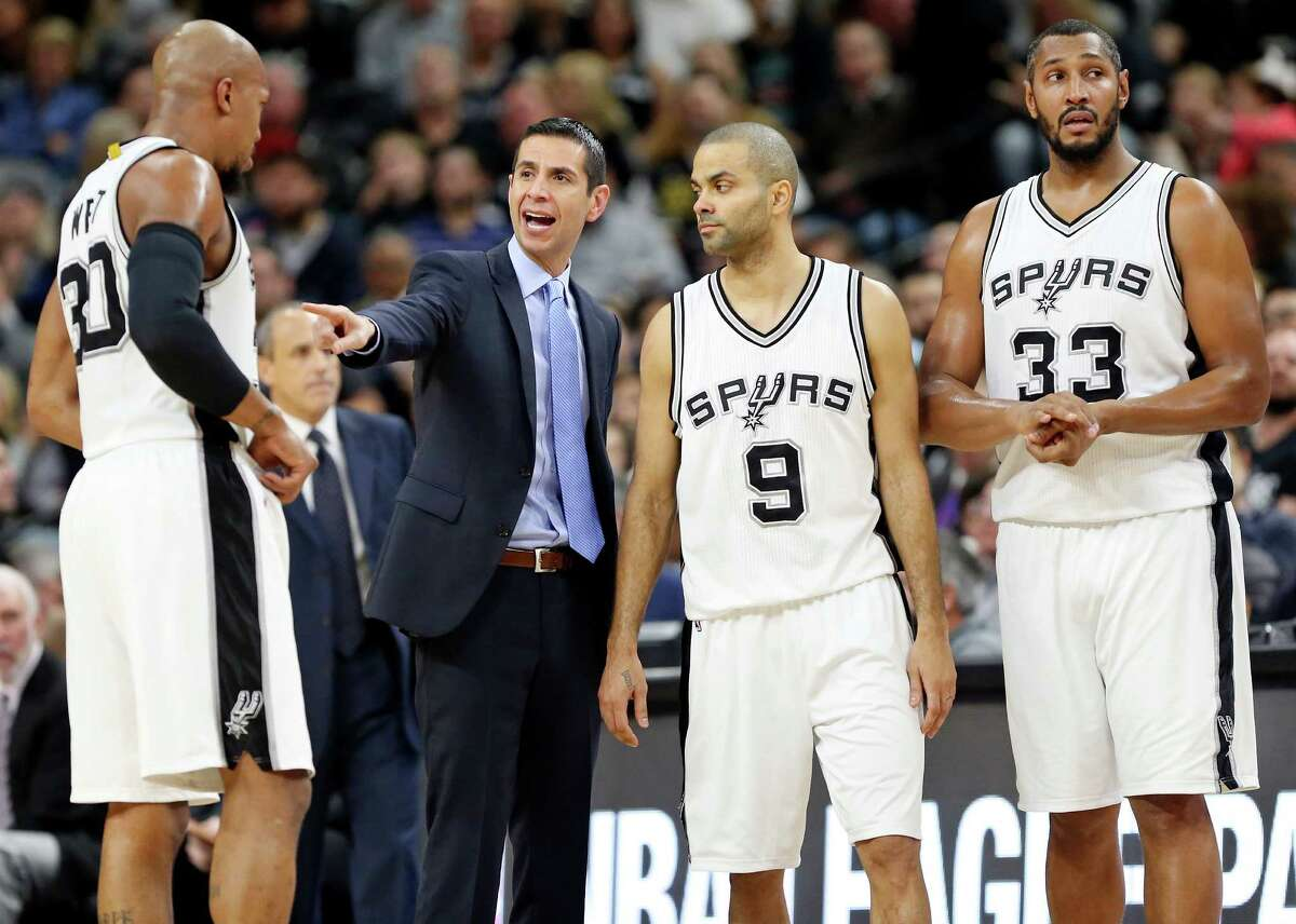 Spurs assistant James Borrego, left, went 10-20 as interim coach for the Magic in the 2014-15 season; Magic assistant Adrian Griffin, right worked with the Rockets' James Harden on the national team.