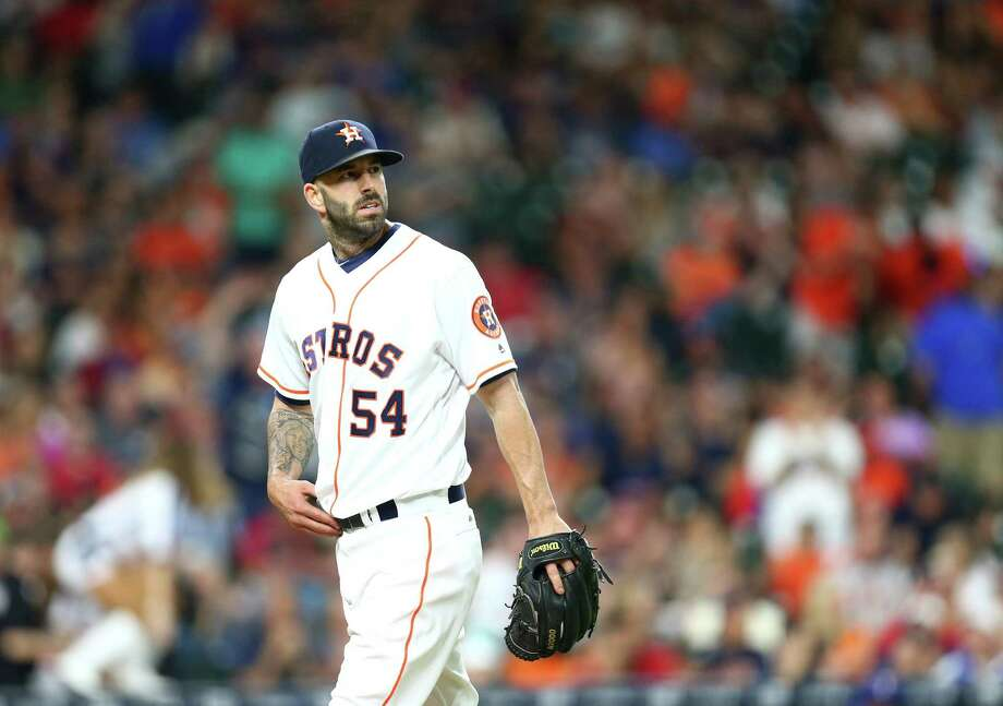 Astros starter Mike Fiers took a tough-luck loss in his return to the rotation Saturday against the Rangers at Minute Maid Park. Photo: Jon Shapley, Houston Chronicle / © 2015  Houston Chronicle