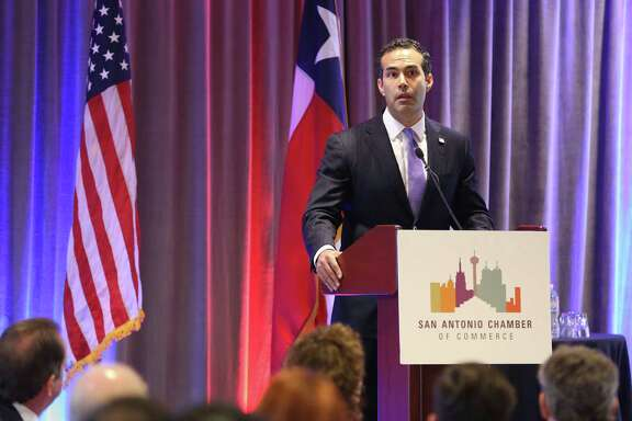 Texas Land Commisioner George P. Bush speaks Wednesday, March 30, 2016 during a San Antonio Chamber of Commerce luncheon at the Hilton Palacio Del Rio.