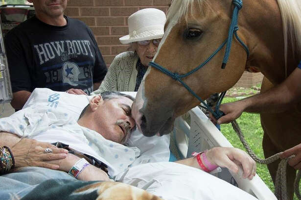 Army and Vietnam War veteran Roberto Gonzales is surrounded by family Saturday afternoon, May 21, 2016, as he receives one final visit from his beloved horses.