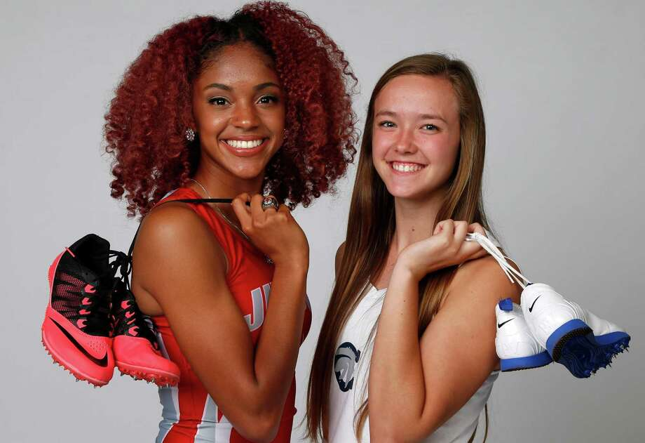 Girls Track Athlete of the Year: Mariah Kuykendoll of Judson (left) and Girls Field Athlete of the Year Kendahl Shue of Boerne Champion pose for the Express-News All-Area photo shoot on Tuesday, May 17, 2016. Photo: Ron Cortes /For The Express-News