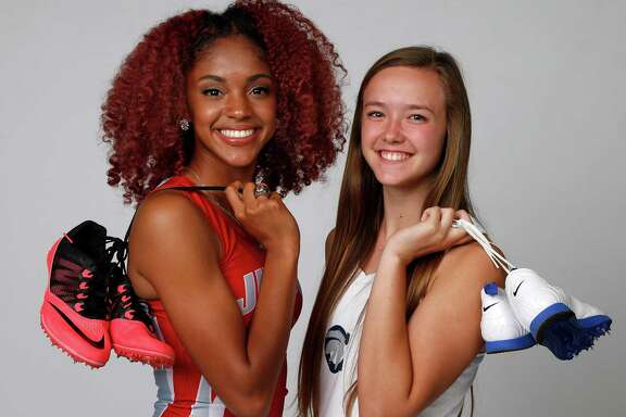 Girls Track Athlete of the Year: Mariah Kuykendoll of Judson (left) and Girls Field Athlete of the Year Kendahl Shue of Boerne Champion pose for the Express-News All-Area photo shoot on Tuesday, May 17, 2016.