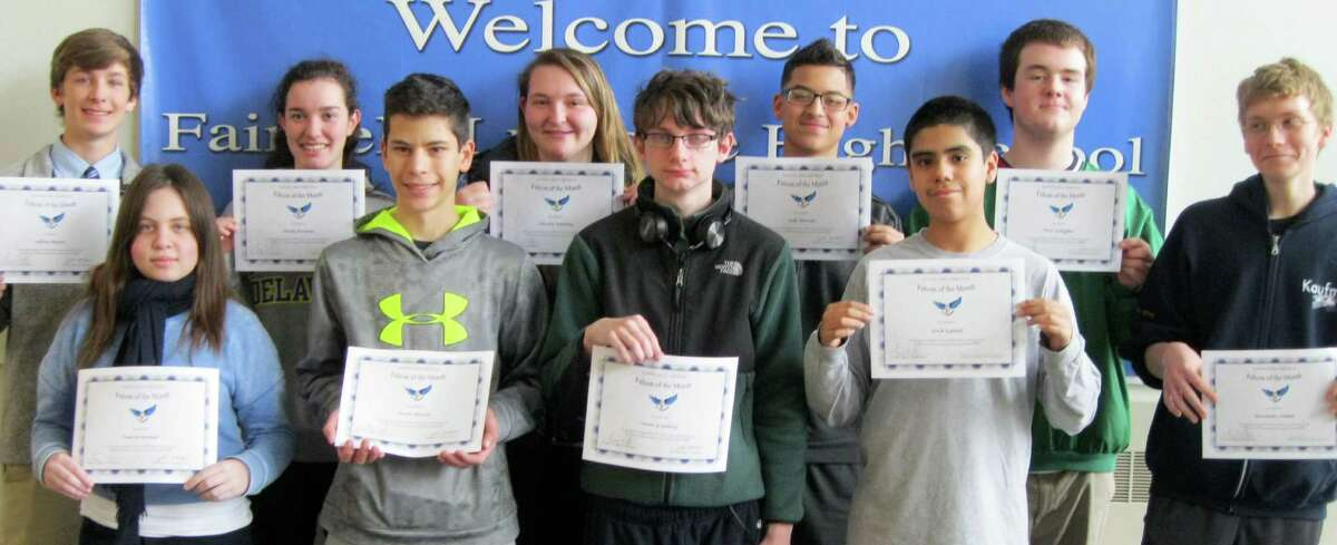 """""""Falcons of the Month"""" selected for April at Fairfield Ludlowe High School include, front row from left, Tamsin Brenner, Kevin Wheeler, Owen Granberg, Erick Espinal IV and Alexander Poulter; back row, Jeff Meyers, Nicole Pierpont, Natalie Nadolny, Julio Morales and Peter Gallagher. Missing from the photo are: Andrew Hevita, Peter Stack, Henry Prestegaard, Kate Sullivan, Hannah Sharpe and Nate Roberts."""