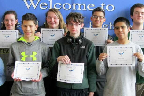 """Falcons of the Month"" selected for April at Fairfield Ludlowe High School include, front row from left, Tamsin Brenner, Kevin Wheeler, Owen Granberg, Erick Espinal IV and Alexander Poulter; back row, Jeff Meyers, Nicole Pierpont, Natalie Nadolny, Julio Morales and Peter Gallagher. Missing from the photo are: Andrew Hevita, Peter Stack, Henry Prestegaard, Kate Sullivan, Hannah Sharpe and Nate Roberts."