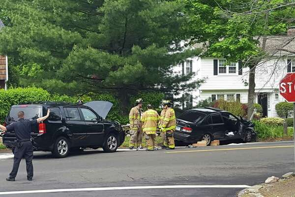One person was taken to a hospital Sunday morning after a two-car crash on Hoyt Street at Country Club Road in Darien.