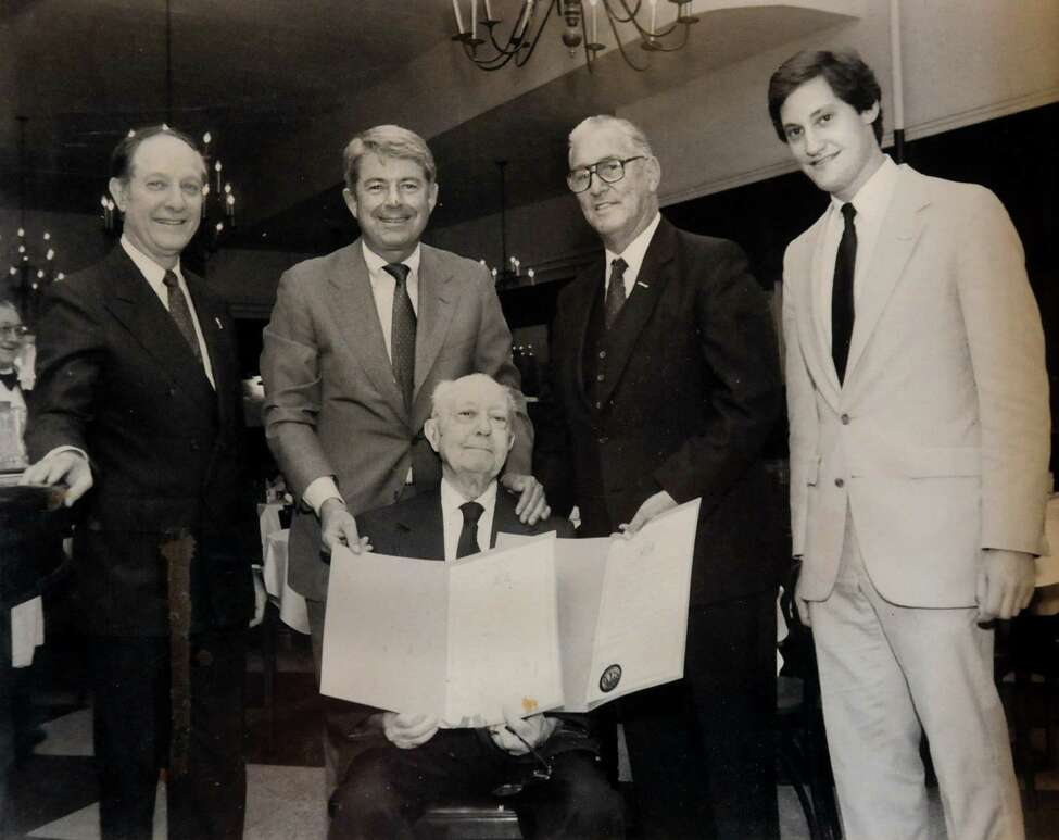 Photo circa 1985 at Jack's Oyster House in Albany, N.Y. From left are Arnold Rosenstein, Sen. Howard Nolan, founder Jack Rosenstein, Assemblyman Richard Conners and Brad Rosenstein. (Jack's Oyster House)