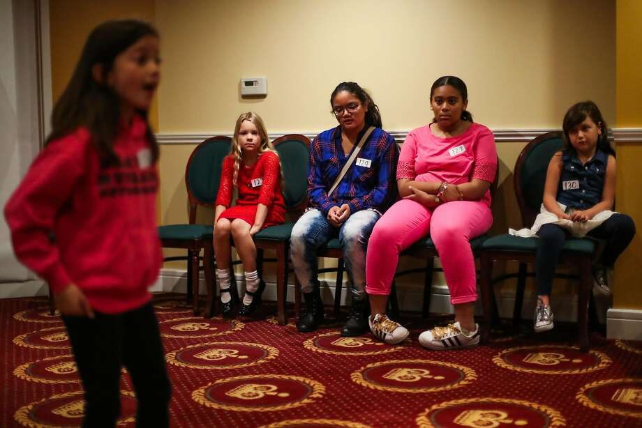 """Alyssa Lopez (left) auditions for """"Broadway Movie Musical"""" in San Francisco as Sansa Caewen Childress, Arianna Orsua, Alexis Lusk and Zara Girsh watch. Photo: Gabrielle Lurie, Special To The Chronicle"""