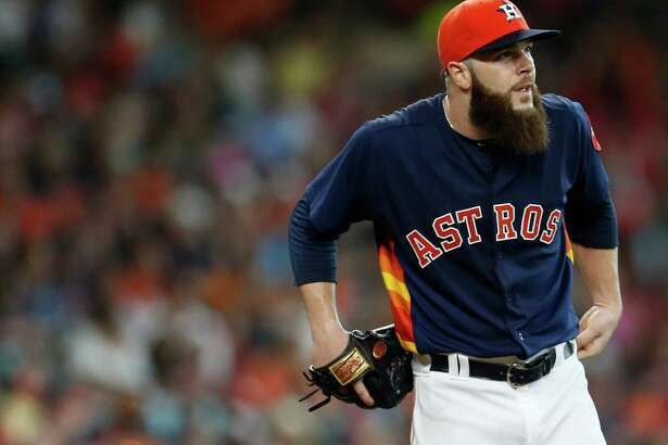 Houston Astros starting pitcher Dallas Keuchel (60) reacts in the third inning of an MLB baseball game at Minute Maid Park, Sunday, May 22, 2016.