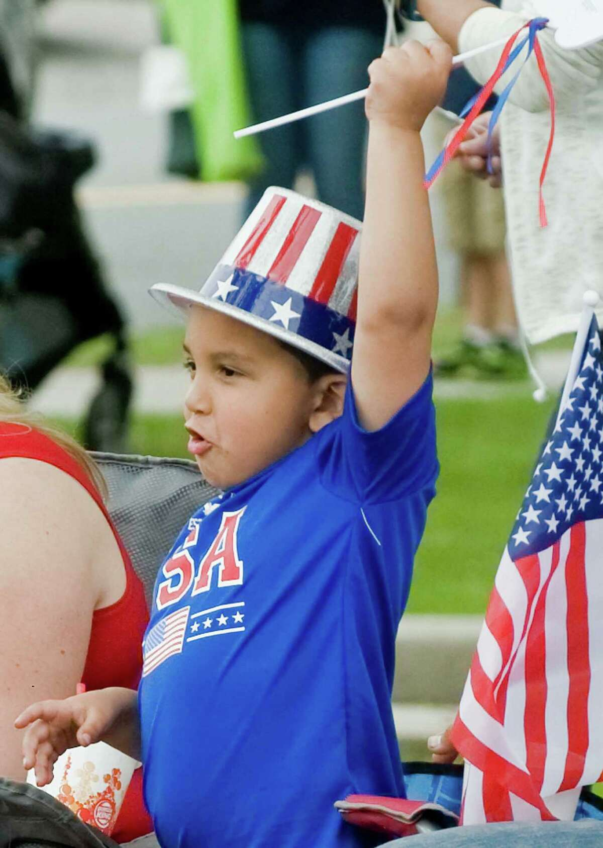 Four-year-old Jadon Bates of New Milford wearing his patriotic outfit at the Bethel Memorial Day Parade on Greenwood Avenue. Sunday, May 22, 2016