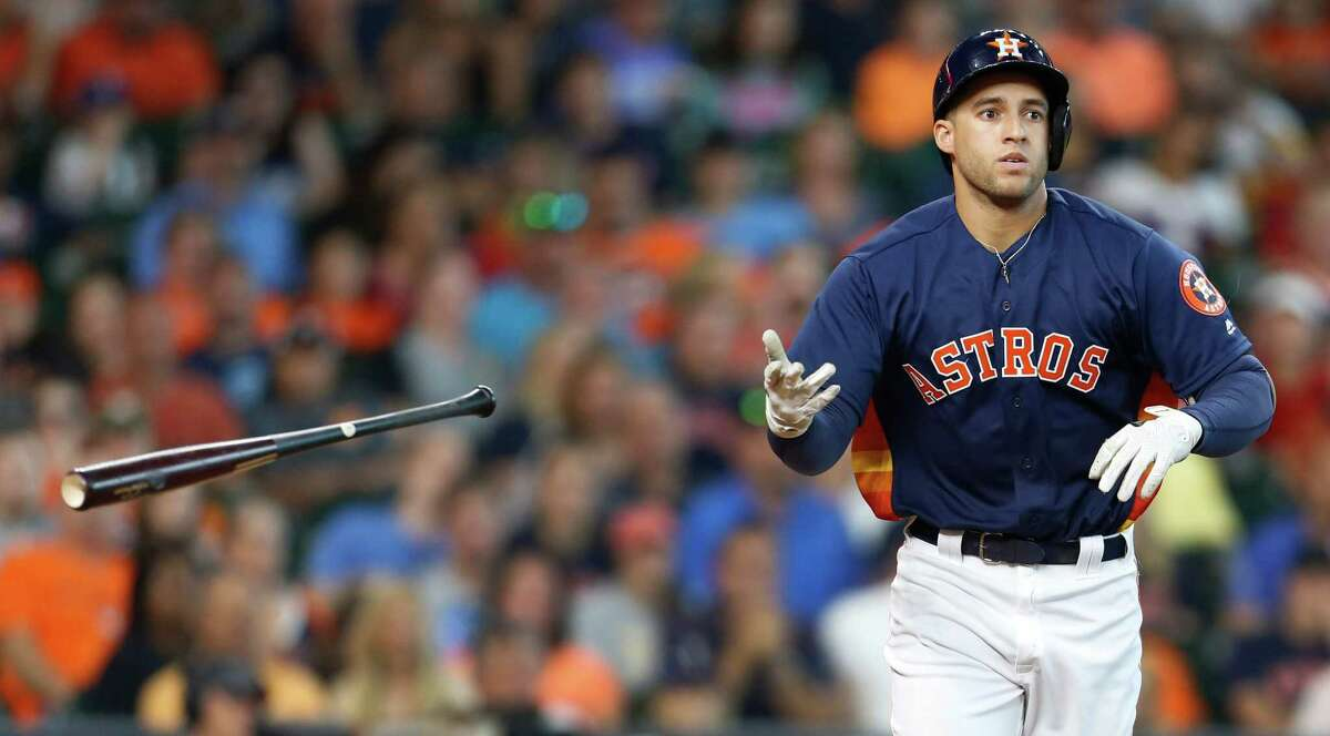 Houston Astros right fielder George Springer (4) walks during the third inning of an MLB baseball game at Minute Maid Park, Sunday, May 22, 2016.