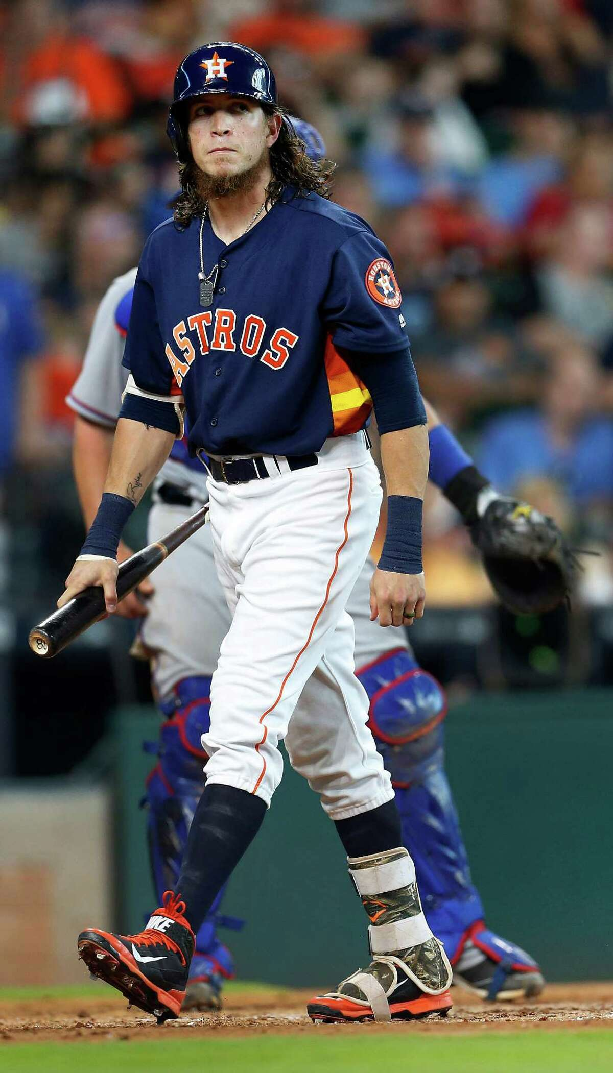 Houston Astros left fielder Colby Rasmus (28) reacts after striking out during the fourth inning of an MLB baseball game at Minute Maid Park, Sunday, May 22, 2016.