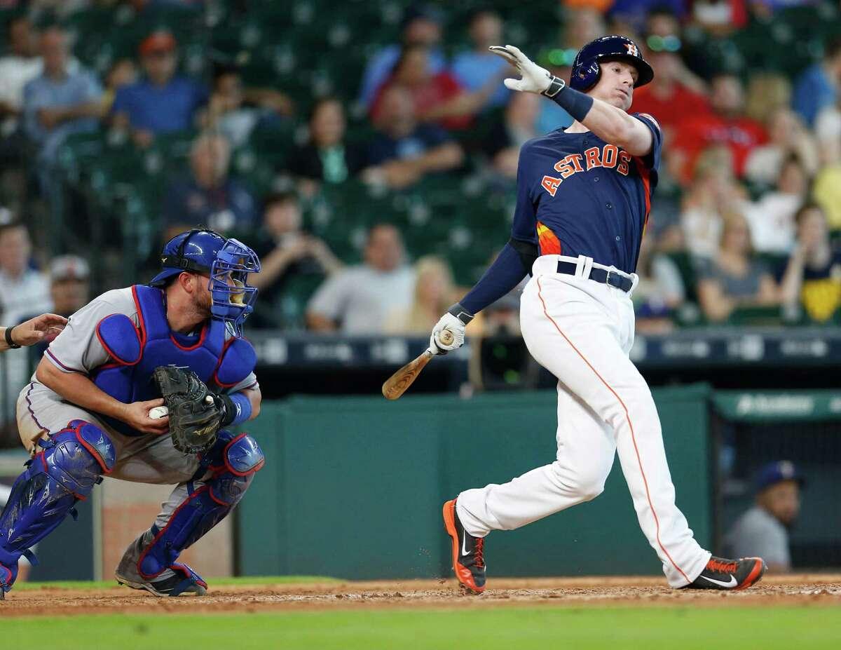 May 22: Rangers 9, Astros 2 Houston Astros third baseman Colin Moran (8) strikes out during the ninth inning of an MLB baseball game at Minute Maid Park, Sunday, May 22, 2016.
