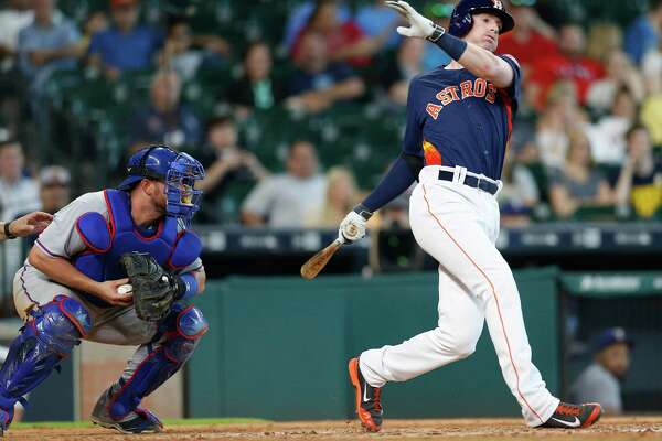 Houston Astros third baseman Colin Moran (8) strikes out during the ninth inning of an MLB baseball game at Minute Maid Park, Sunday, May 22, 2016.