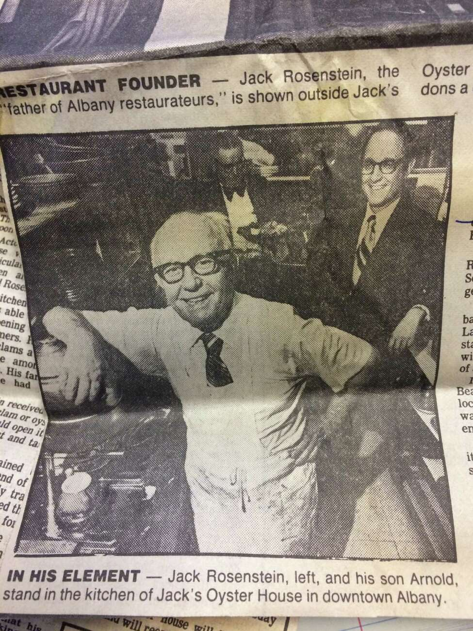 A photo from a 1986 article chronicling the death of Jack's Oyster House founder, Jack Rosenstein. His son Arnold, who died May 22, 2016 at age 94, is pictured at right. (Times Union archive)
