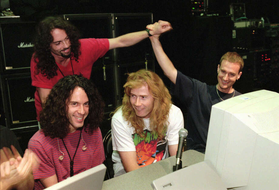 Megadeth drummer Nick Menza, back left, with other members of the band in 1997. From left: guitarist Marty Friedman, singer and guitarist Dave Mustaine and bassist David Ellefson. Photo: Ethan Miller, MBO / Las Vegas Sun